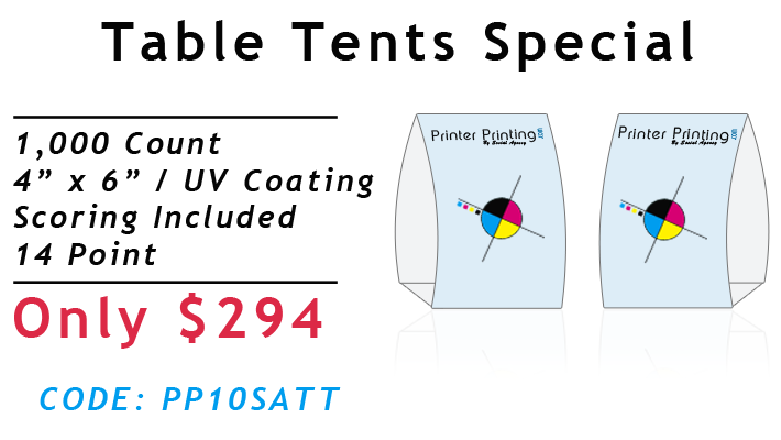Table Tent Printing Special